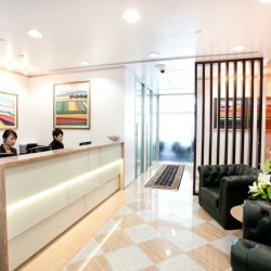Reception of business centre with lounge area. Edgy and glorious design. (One Peking)
