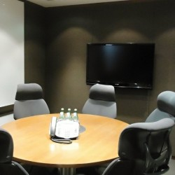 Conference room of business center. Equipped with teleconference facilities and a TV. Office furniture of high quality provided. (China Minmetals Tower)