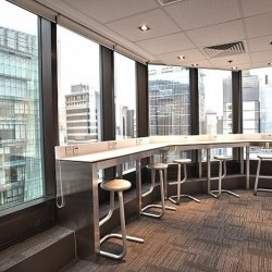 Break-out area of business center. Spacious and nicely arranged . City view of Hong Kong. Office furniture provided. (Worldwide House)