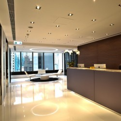 Reception along with lounge area. Glamorous and stylish. Central air-conditioning. Office furniture provided. (Worldwide House)