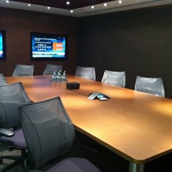 Conference room of business center. Functional layout. Equipped with teleconference facilities and two TVs. Office furniture of high quality provided. (Worldwide House)