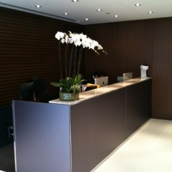 Reception of business center. Modern design. Central Air-Conditioning. Office furniture provided. (Worldwide House)