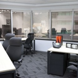 Layout of the room in business center. Multiple workstations. Office furniture provided. (68 Yee Wo Street)