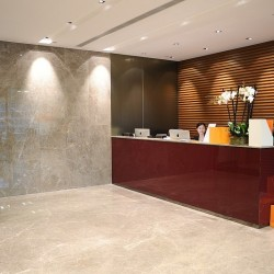 Reception of business center. Modern design. Office furniture provided. Central Air-Conditioning. (Cheung Kong Center)