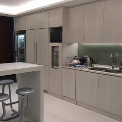 Pantry of business center. Break-out area. Modern design with superior office furniture. Equipped with a fridge, coffeemaker, water dispenser and microwave oven. (Cheung Kong Center)