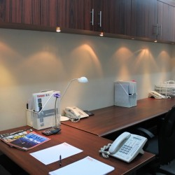Room of business center. Double workstations. Office furniture provided. Modern design. (80 Gloucester Road)