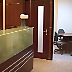 Reception of business center. Conference room. Modern design and efficient use of space. (Nan Fung Centre)