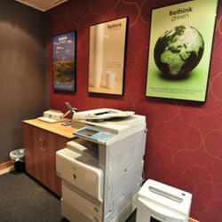 Office equipment: photocopier, paper shredder, giant stapler and cabinet. (Millennium City 5 – BEA Tower)