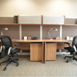 Another room of business center. Double workstation. Office furniture provided. Abundant natural light. Central Air-Conditioning. (Millennium City 5 – BEA Tower)