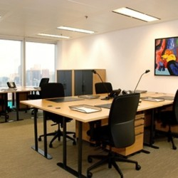 Layout of business center. Multiple workstations. Modern design. Office furniture provided. Central Air-Conditioning. Abundant natural light. (The Lee Gardens)
