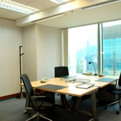 Room of business center. Multiple workstations. City view of Wan Chai. Office furniture provided. Abundant sunlight. (Central Plaza)