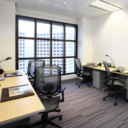 Room of business center. Multiple workstations. Office furniture provided. Abundant natural light. (Entertainment Building)