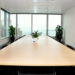 Commodious conference room in business center. Modern design with office furniture provided. Splendid harbour view. (One International Finance Centre)