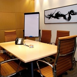 Conference room of business center. Functional layout. Equipped with teleconference facilities. Office furniture of high quality provided. (One International Finance Centre)