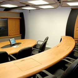 Conference room of business center. Modern layout. Equipped with teleconference facilities and a TV. Office furniture of high quality provided. (The Center)