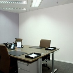 Room of business center. Double workstations. Office furniture provided. Modern design. (The Center)