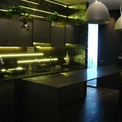 Pantry of business center. Break-out area. Contemporary and unconventional design with superb office furniture. Equipped with a coffeemaker. (International Commerce Centre)