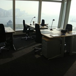 Room of business center. Multiple workstations. Stylish. Unobstructed sea view. Office furniture provided. (International Commerce Centre)
