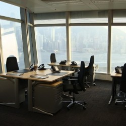 Room of business center. Double workstations. Extraordinary harbour view. Abundant natural light. Superior office furniture provided. Modern design. (International Commerce Centre)