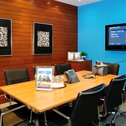 Conference room of business center. Chic and modern. Equipped with video conference and teleconference facilities and a TV. Office furniture of high quality provided. (Millennium City 1 – Tower 1)