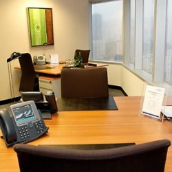 Room of business center. Multiple workstations. Abundant natural light. Office furniture provided. Nice city view. (Millennium City 1 – Tower 1)