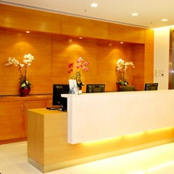Reception of business center. Stylish design with furniture of good quality. Central Air-Conditioning. (100 Queen's Road Central)