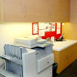 Office equipment: photocopier, giant stapler, water dispenser and cabinet. (100 Queen's Road Central)