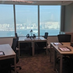 Another room of business center. Multiple workstation. Splendid unobstructed sea view. Office furniture provided. Abundant natural light. (China Resources Building)