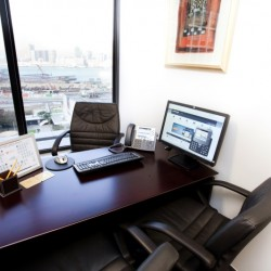 Room of business center. Single workstation. Broadband network. Office furniture provided. (Hong Kong Club Building)
