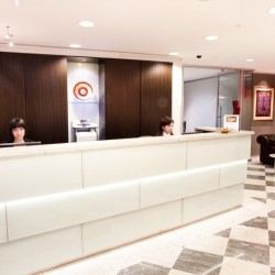 Reception of business center. Modern design. Office furniture provided. Central Air-Conditioning. (Hong Kong Club Building)