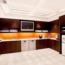 Pantry of business center. Break-out area. Contemporary design with superior office furniture. Equipped with a fridge, coffeemaker, water dispenser, microwave oven and TV. (Two International Finance Centre)