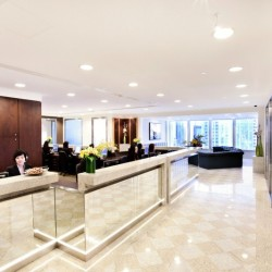 Reception of business center. Chic and unrivaled. Central air-conditioning. (Two International Finance Centre)