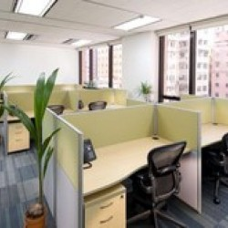 Layout of business center. Multiple workstations. Modern and efficient design. Office furniture provided. Abundant natural light. Central Air-Conditioning. (Luk Kwok Centre)