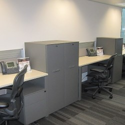 Office area of business center. Multiple workstations. Office furniture provided. Abundant natural light. (Nexxus Building)