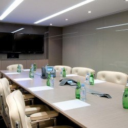 Conference room of business center. Grand and chic. Equipped with video conferencing facilities, two TVs and a fridge. Office furniture of high quality provided. (Nexxus Building)