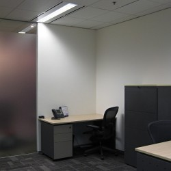 Room of business center. Double workstations. Office furniture provided. Central Air-Conditioning. (Three Pacific Place)