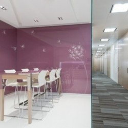 Break-out area of business center. Spacious and modern . Office furniture provided. (One Island East)