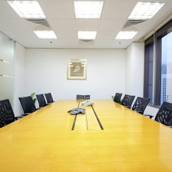 Another conference room of business center. Commodious and equipped with teleconference facilities. City view of Hong Kong. Office furniture provided. (9 Queen's Road Central)