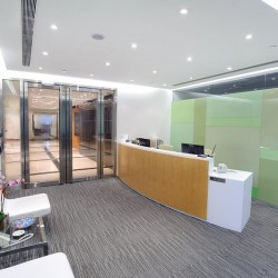 Reception of business center. Modern design. Office furniture provided. Central Air-Conditioning. (9 Queen's Road Central)