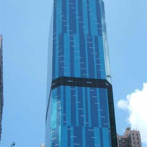 The facade of AIA Tower. Located on Electric Road, North Point. 29-storey. Prime building in North Point.
