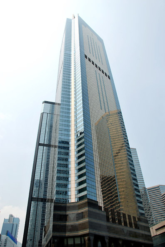The facade of Central Plaza. Located on Harbour Road, Wan Chai. 78-storey.