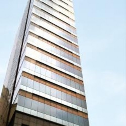 The facade of China Minmetals Tower. Located on Chatham Road South, Tsimshatsui. 17-storey.