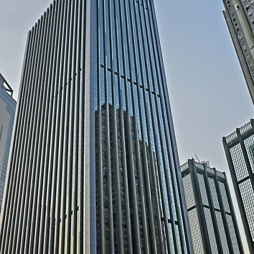The facade of China Resources Building. Located on Harbour Road, Wan Chai. 50-storey.