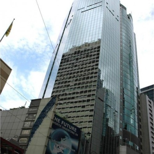 The facade of Infinitus Plaza. Located on Des Voeux Road Central, Sheung Wan. 29-storey. Atop of Sheung Wan MTR Station.