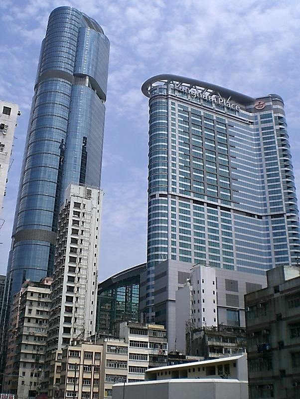 The facade of Langham Plaza Office Tower. Located on Argyle Street, Mong Kok. 60-storey. Atop of Mongkok MTR Station.