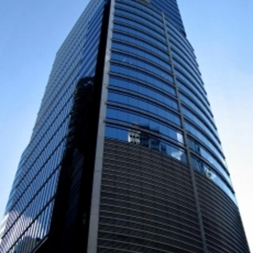 The facade of Man Yee Building. Located on Queen's Road Central, Central. 31-storey.