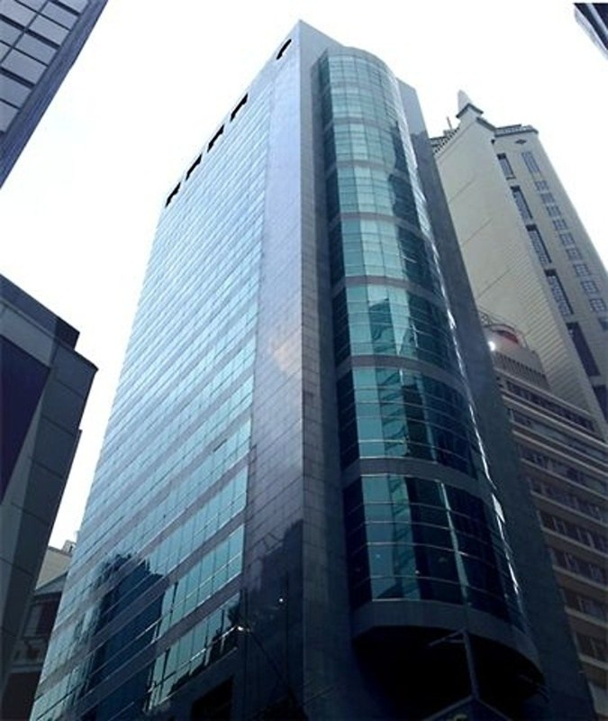 The facade of Silver Fortune Plaza. Located on Wellington Street, Central. 24-storey.