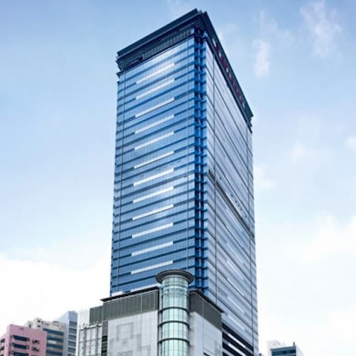 The facade of Millennium City 5. Located on Kwun Tong Road, Kwun Tong. 42-storey.