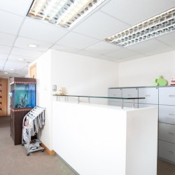 Reception of business centre. Equipped with cabinet, newspaper stand and fish tank. (Mongkok Commercial Centre)