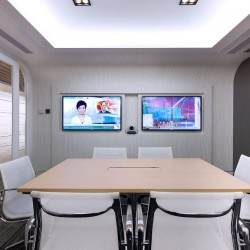 "38B03_Meeting rooms which can fit 6 people each and have 50"" LCD TV for each meeting room as a projector."